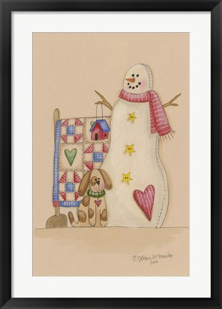 Framed Snowman With Dog Print