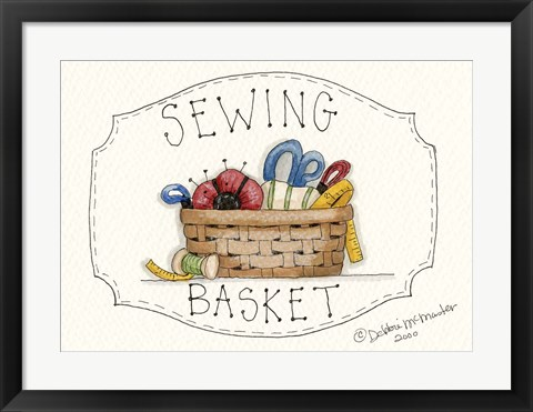 Framed Sewing Basket Print