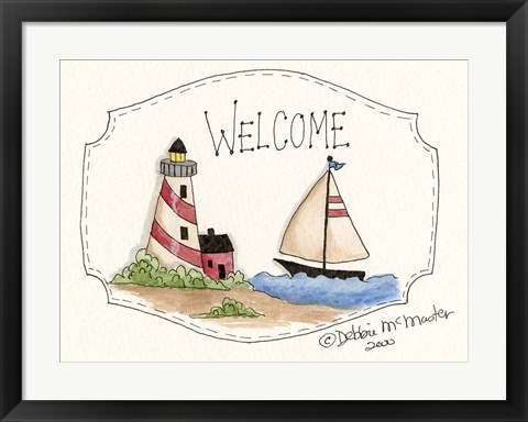 Framed Lighthouse And Sailboat Print