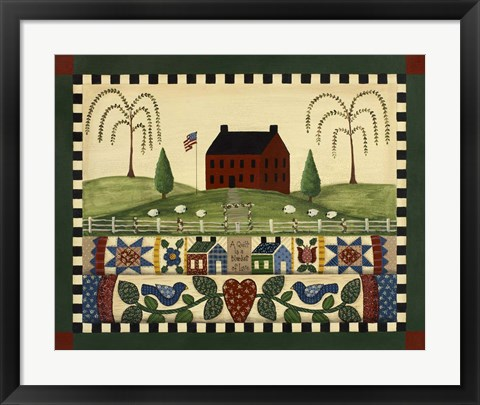 Framed Red House With Quilts Print