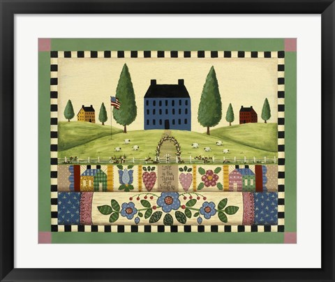 Framed Blue House With Quilts Print