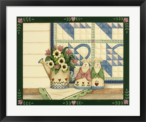 Framed Bunnies, Watering Can With Quils Print