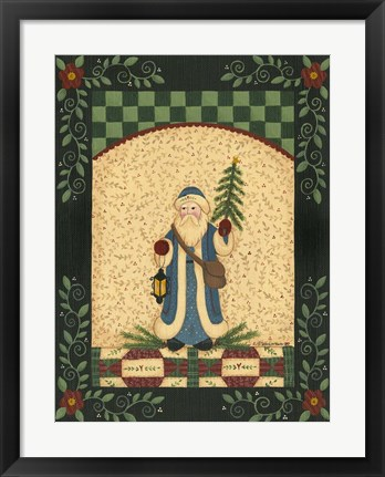 Framed Blue Antique Santa Print