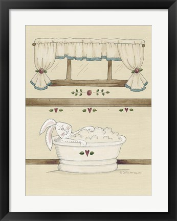 Framed One Bunny In Tub Print