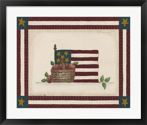 Framed Flag With Basket Of Apples Print