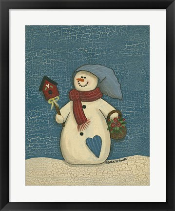 Framed Snowman With Crackle Background Print