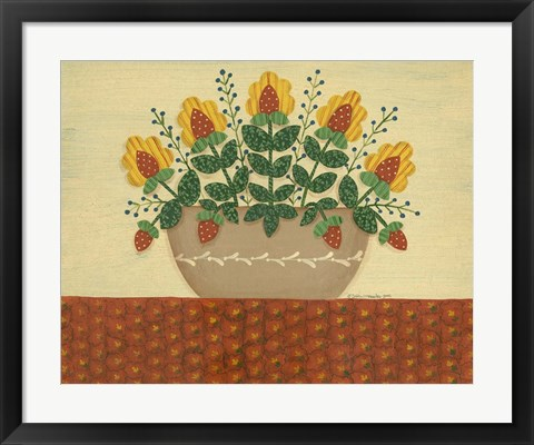 Framed Yellow Flowers With Pumpkin Colored Tablecloth Print
