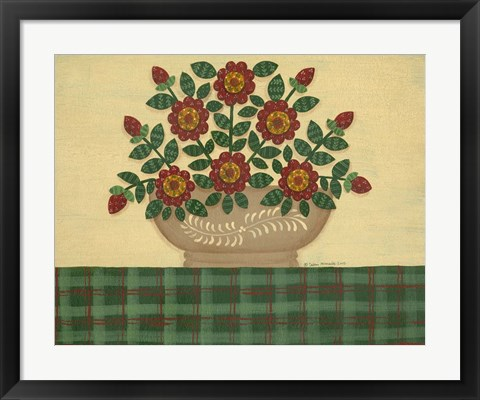 Framed Red Flowers With Dark Green Tablecloth Print