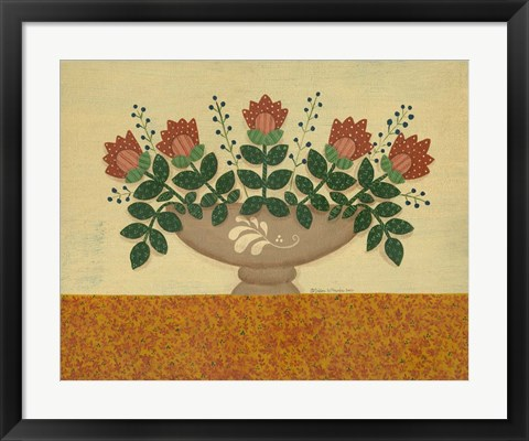 Framed Orange Flowers With Gold  Orange Tablecloth Print