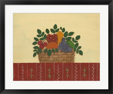 Framed Fruit With Red Tablecloth Print