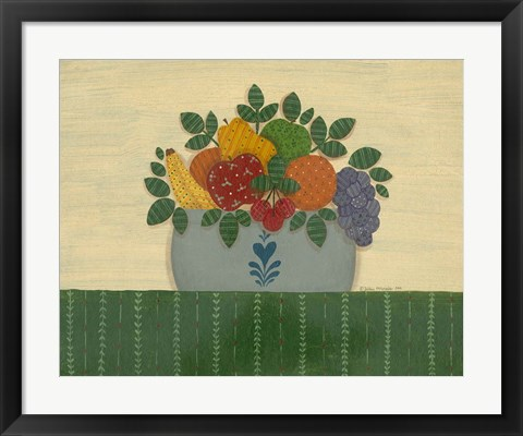 Framed Fruit With Dark Green Tablecloth Print