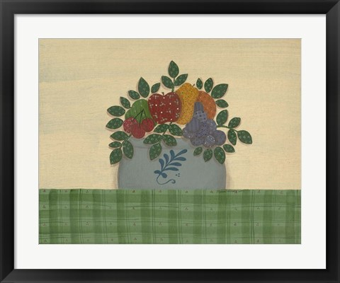 Framed Fruit With Green Tablecloth Print
