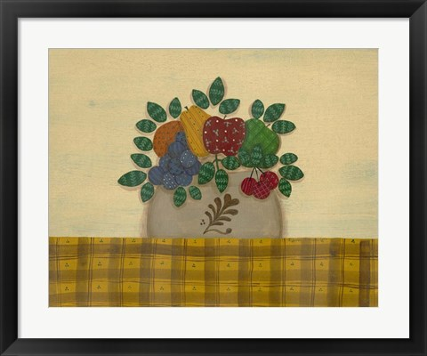 Framed Fruit With Gold & Brown Tablecloth Print