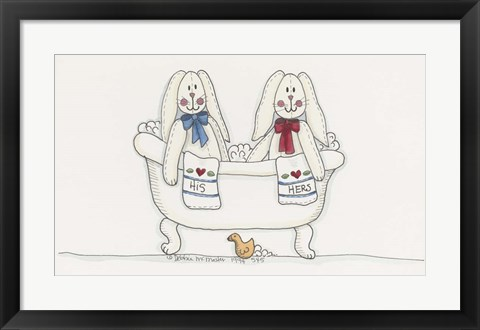Framed Bath Time Bunnies Print
