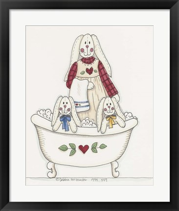 Framed Bath Time Bunnies 3 Print