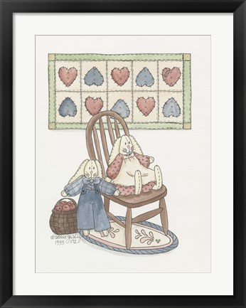 Framed Bunnies With Chair Print