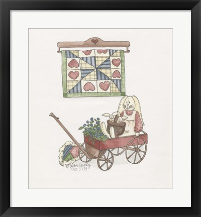 Framed Bunny In Wagon Print
