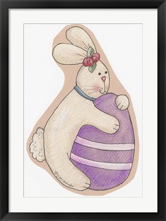 Framed Bunny Purple Egg Print
