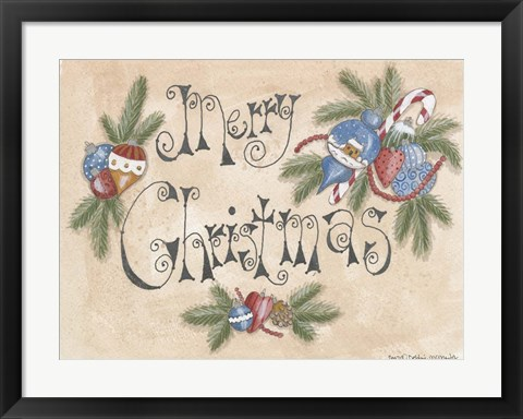 Framed Merry Christmas Ornaments Print