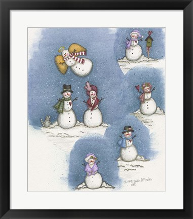 Framed Snowman Collage Print