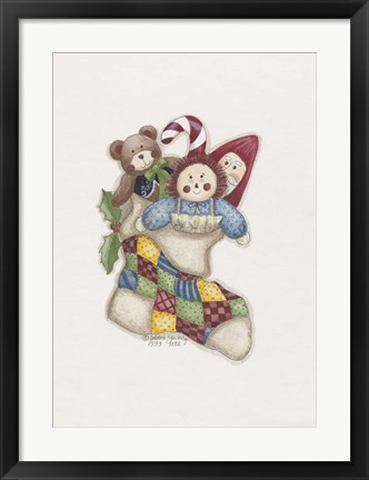 Framed Stocking With Toys Print