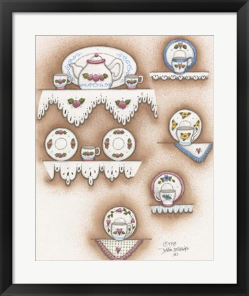 Framed Teapot And Cups Print