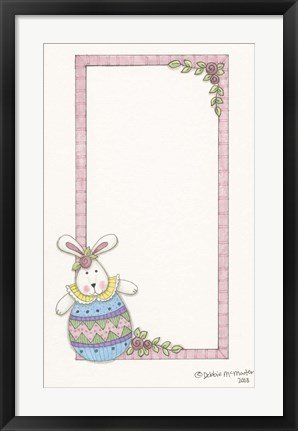 Framed Bunny With Pink Border Print