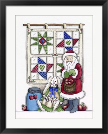 Framed Santa With Quilt & Bunnies Print
