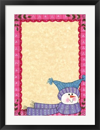 Framed Bright Snowman W/Pink Border Print