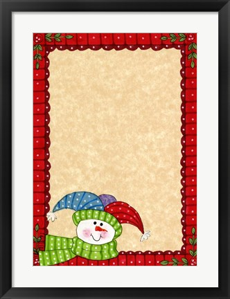 Framed Bright Snowman W/Red Border Print