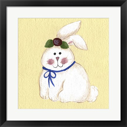 Framed Bunny With Rose Print