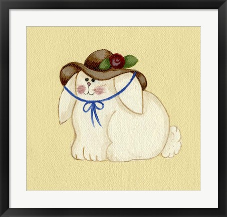 Framed Bunny With Hat Print