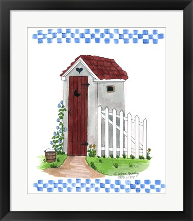 Framed Grey Outhouse Print