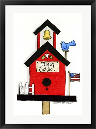 Framed Flight School Birdhouse Print