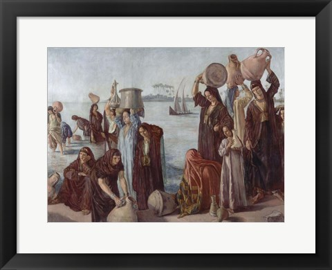 Framed Women Drawing Water from the Nile Print