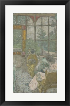 Framed Two Women Embroidering Under a Veranda, 1912 Print