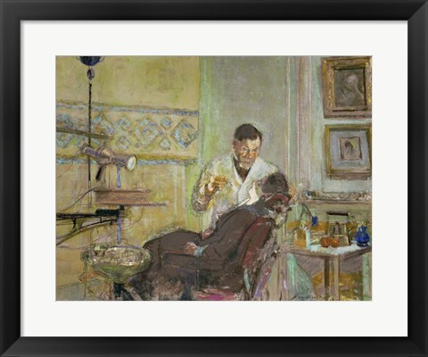 Framed Dr Georges Viau in his Dental Office, Attending Annette Roussel, 1914 Print