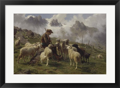 Framed Shepherd Boy in the Pyrenees Offering Salt to his Sheep, 1864 Print