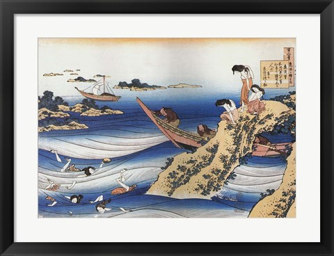 Framed Female Divers Dive for Abalone Print