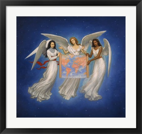 Framed Angels with map Print