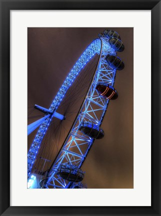 Framed London Eye Lit up in Blue Print