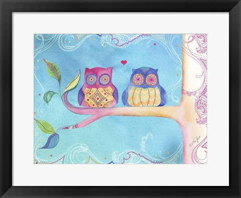 Framed Jane Owl Pair Print
