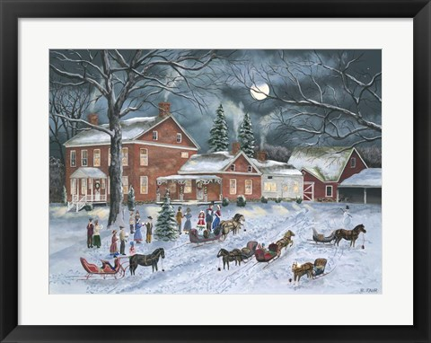 Framed Carolers Gather Print