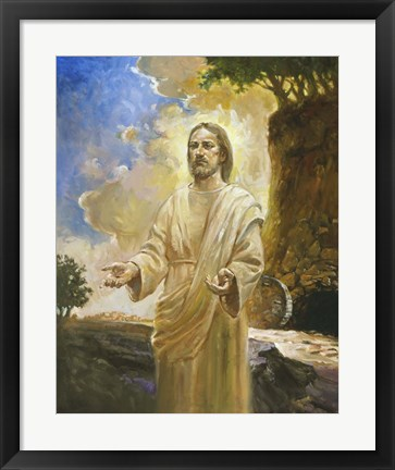 Framed Jesus In Front Of Cave Print