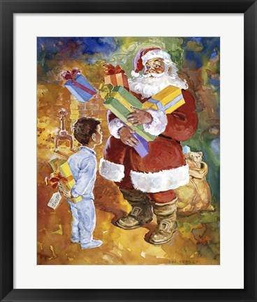 Framed Santa Bearing Gifts Print