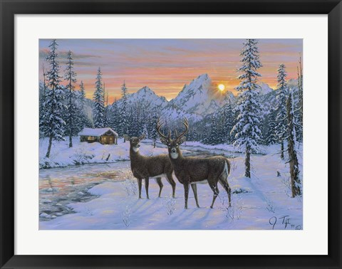 Framed Whitetail & Cabin Print