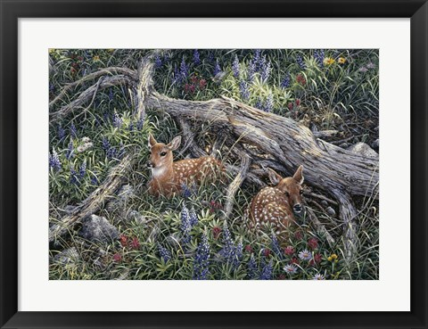 Framed Fawns And Flowers Print