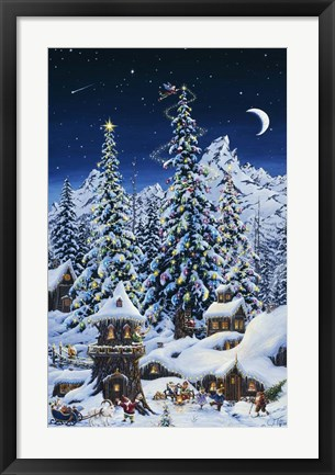 Framed Christmas With The Elves Print