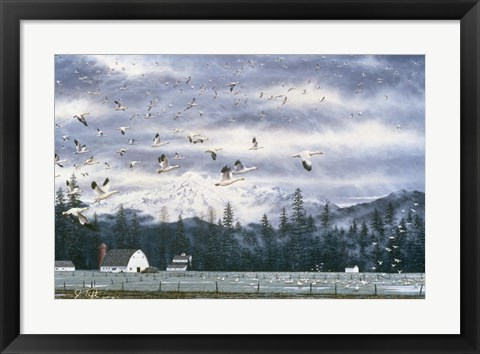 Framed Geese Flying Over Farmland Print