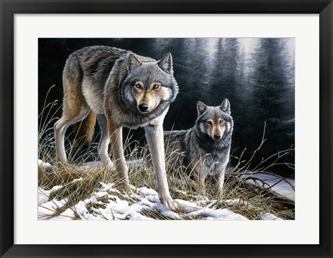 Framed Over The Ridge Wolves Print